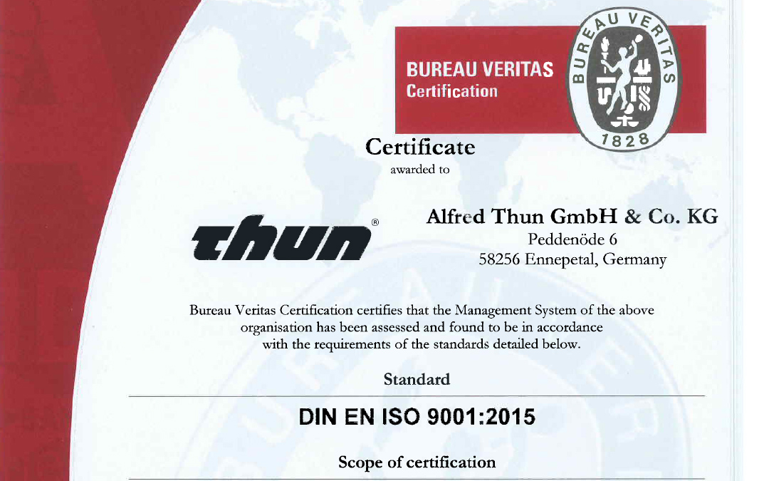 Jetzt nach DIN EN ISO 9001:2015 zertifiziert